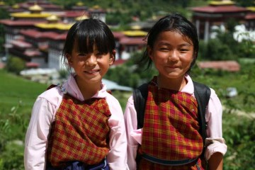 Zwei bhutanesiche Mädchen