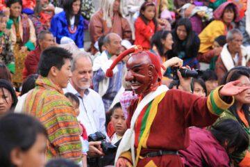 Begegnung beim Timphu Festival in Bhutan