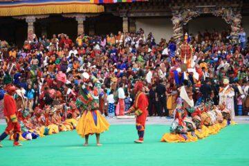 Ritual beim Thimphu-Fest in Bhutan