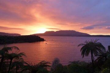 Sonnenuntergang Pounamu Lodge