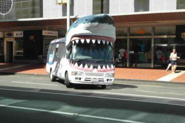 Als Hai verkleideter Bus in Auckland