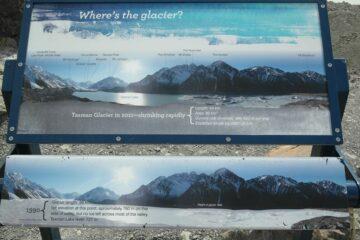 Hinweisschild am Tasman Gletscher