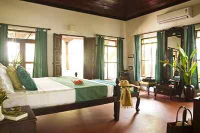 Schlafzimmer des Palm-Bungalow im Marari Beach