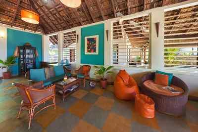 Lounge des Palm-Bungalow im Marari Beach