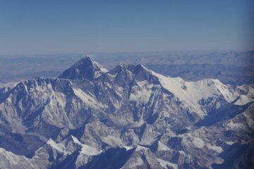 Himalaya-Gebirge aus dem Flugzeug