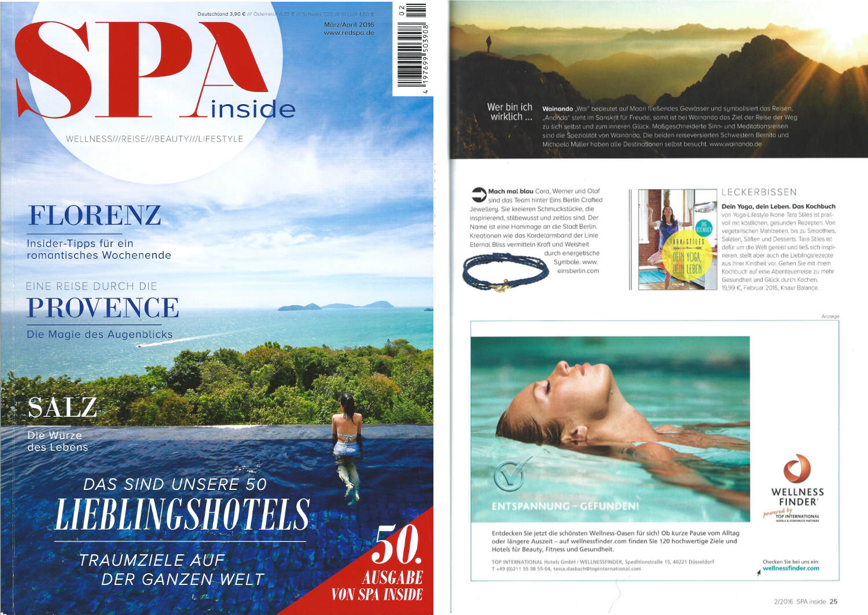 Veröffentlichung über Wainando im SPAinside-Magazin, Ausgabe 2, März/April 2016