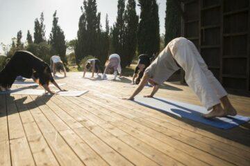 Gruppe beim Yoga auf dem Sonnendeck