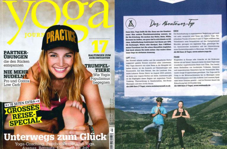 Veröffentlichung über Wainando Yoga-Journal – Ausgabe 3 – Mai/Juni 2016
