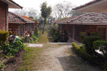 Blick auf die Bungalows des Swati Rama Sadhaka Grana Ashram