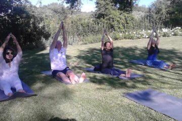 Teilnehmerinnen machen sitzende Yogaübungen auf dem Rasen