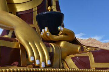 Nahaufnahme von Hand Buddha-Statue
