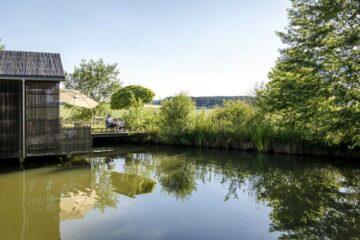 Haus mit Steg am grünen Teich