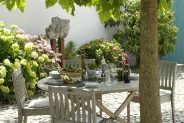 Gedeckter Tisch von Blumen umrankt unter Baum