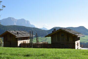 Holz-Chalets auf Anhöhe mit Blick auf die Berge