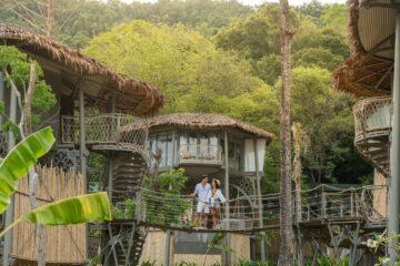 Paar steht auf Hängebrücke vor Tree-House
