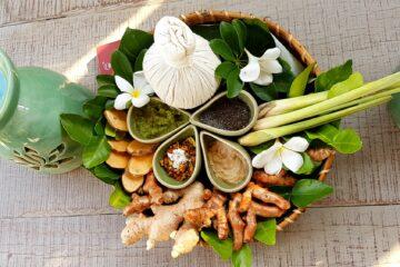 Arrangement aus Zutaten für Beauty und Wellness