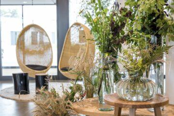 Zwei Affenschaukeln und Vasen mit frischen Schnittblumen