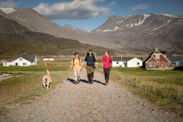 Drei Wanderer auf Straße mit Hund