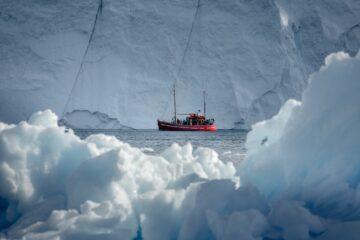 Rotes Boot inmitten weißer Eiswände