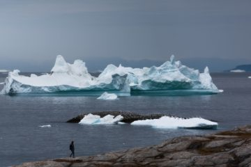 Mann läuft an der Felsküste und blickt auf Eis direkt vor ihm in der Bucht