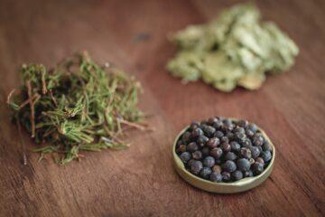 Kräuter und Beeren in Schale
