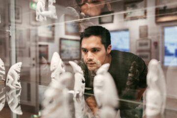 Mann schaut in einen gläsernen Schaukasten mit Skulpturen