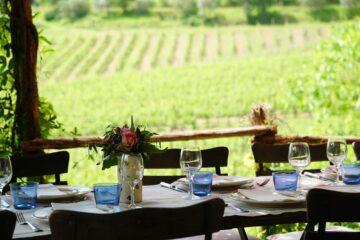 Terrasse mit Tischen und Aussicht auf grüne Felder