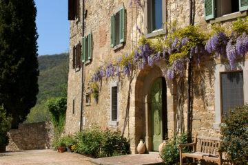 Haus mit Eingang mit Fliederberankung und grünen Fesnterläden