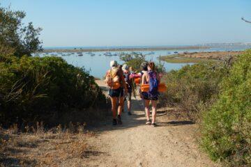 Gruppe wandert zum Meer