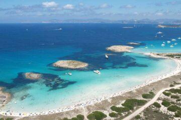 Blick auf Strand auf Formentera