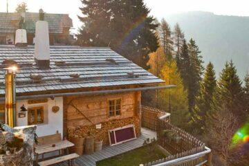 Chalet von oben mit Terrasse und Grünstreifen