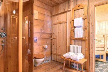 Badezimmer mit Dusche und angrenzender Sauna