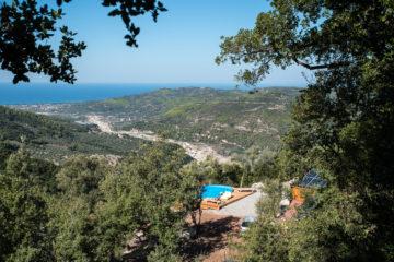 Blick über Landschaft und Pool