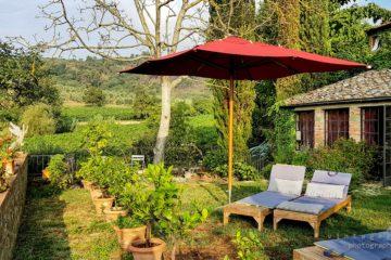 roter Sonnenschirm mit zwei Liegen inmitten von grünem Garten