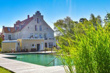 Blick auf Schwimmteich und Haus in der Sonne