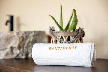 Handtuch mit Schriftzug Santa Verde und Aloe Vera Pflanze