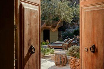 Holztüre öffnet sich auf Terrasse mit Olivenbaum