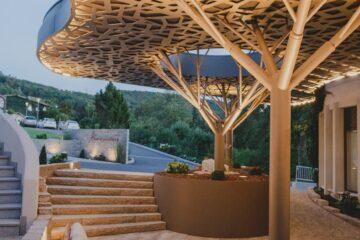 Goldene Baum-Überdachung über Terrasse