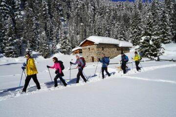 Gruppe wandert durch verschneite LAndschaft