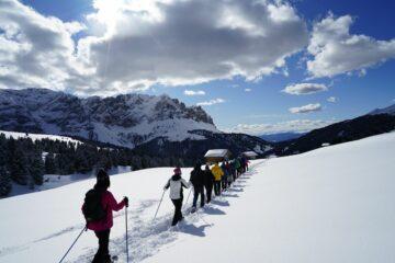 Gruppe von Schneehschuwanderern läuft hintereinander in Schneespur