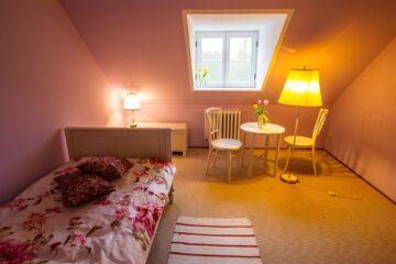 Zimmer mit Gaube und Rosendecke