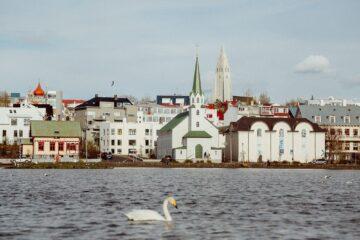 Blick auf Küstenlinie mit Häusern