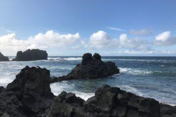 Schwarze Felsen im Meer